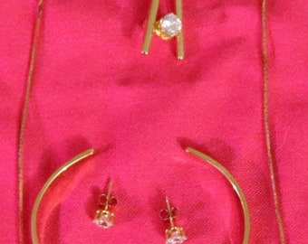 Vintage Gold Tone 4pc Jewelry Set