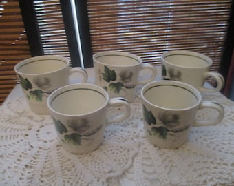 Palissy Sandon Rose Green Ivy Design Set of Five Cups (1950s)