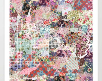 Boise City map ID | Boise City Painting | Boise City Art Print | Boise City Poster | Idaho map | Flowers compositions
