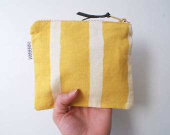 Yellow Striped Zipper Pouch