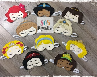 Princess Sleep Masks, Sleep Mask, Sleeping Mask, Eye Sleep Mask, Princess Mask, Belle,  Cinderella, Anna, Elsa, Rapunzel, Snow White, Aurora