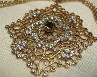 "Vintage Fancy French Medallion Swaroski Crystal Necklace 16 1/2"""