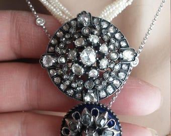 Georgian 14k Gold Silver Rose Cut Diamond Brooch Pendant Unique One Of A Kind
