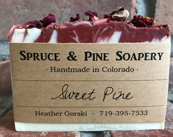 Sweet Pine Soap -- Exfoliant soap, Cold Process Soap, Homemade soap, essential oil soap