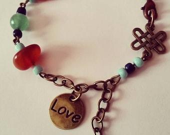 Infinite love bracelet, antique brass charm and gemstone bracelet, bracelet, gifts for her