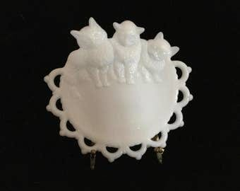 Milk Glass Reticulated Plate with Kittens