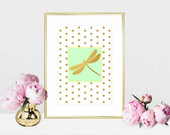 Printable art Digital Prints Home decor gold dragonfly