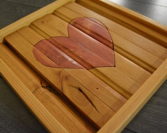 Natural Wood Art Pink Heart Baby Girl