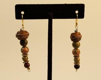 Earrings - Earthy Mossy Rose  -  EG004