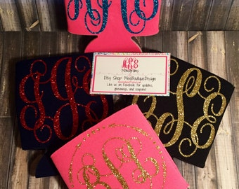 Glitter Monogram Can Holder | Personalized | Can Holder |