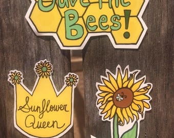 Sunflower Queen Save The Bees Vinyl Sticker Pack / Sunflower Stickers