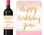 Custom Birthday Wine Labels Personalized Stickers Pink and Gold Confetti with Happy Birthday In Gold