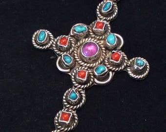 Sterling Silver MEXICO CII southwestern Turquoise Coral and Amethyst Braided Cross Pendant, Braided Cross Pendant