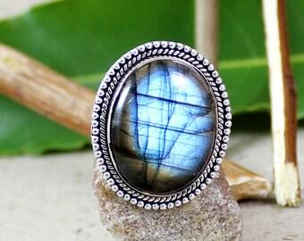 blue fire labradorite ring, 925 silver labradorite, silver gemstone jewelry, healing labradorite ring, solid silver ring, woman labradorite