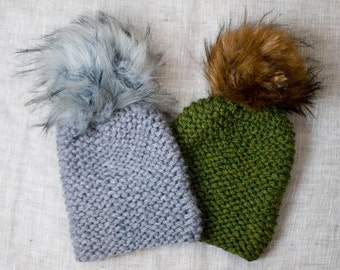 Wooly fur Pompom * ready to ship * gray Knit Cap with Pompon for HER * grey *.