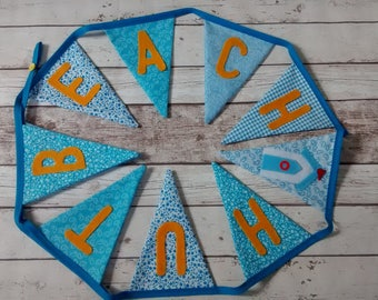 Beach hut bunting, blue bunting, beach hut garland, seaside bunting, seaside garland, beach hut flags, seaside flags, wall decor