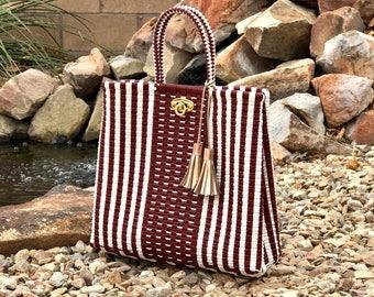 Mexican handwoven bag Recycled plastic handbag