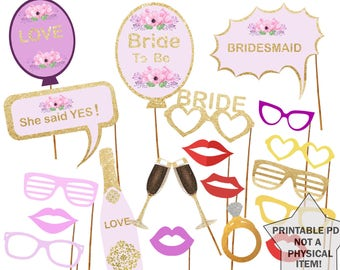Printable Bridal Shower Photo Booth Props Bride Photobooth Props Bachelorette Printable Props Bachelorette Party Bride To Be