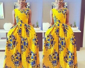Nini Maxi dress with pockets ,African dress, Long African dress, Maxi African dress, Ankara dress, African wax fabric, African fabric, Sleev
