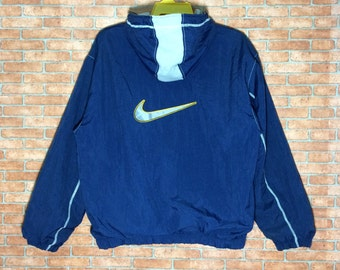 Rare!!! Vintage Nike Hoodie Jacket Big logo Swoosh Embroidery Vtg Sweater Bomber Zipper L size Jacket