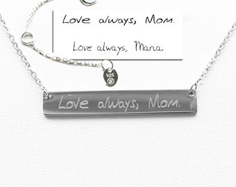 925 Sterling Silver Handwriting jewelry,Handwriting Bar Necklace,Actual Signature Jewelry,Silver Bar Necklace,Memorial Gift-Mother's   gift