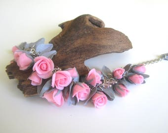 Bracelet with roses,pink roses,Beautiful decoration,Flower decoration, Bracelet with flowers,Flower bracelet Polymer clay