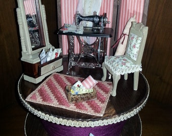 "1:12 scale dolls house miniatures roombox ""small tailor shop"""