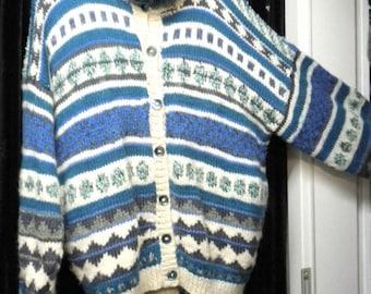 Outdoor sweater Norwegians look rustic XXL handmade unique DIY nature blue petrol white big size transition jacket