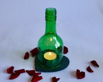 Heart Tea Light - Up-cycled Wine Bottle Candle on Slate