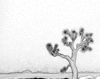 Wall art, Joshua Tree, black and white art, line drawing, pen and ink, American national park, interior detail, wanderlust, trees