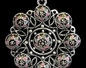 Vintage Necklace, Vintage Silver Pendant Necklace, Silver Necklace, Enamel Pendant, Vintage Jewelry, Vintage Pendant, Vintage Jewellery
