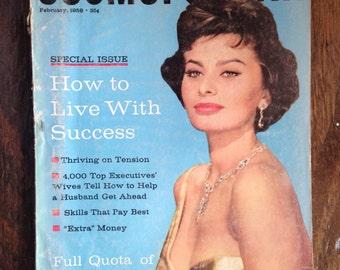 Vintage Special Edition Cosmopolitan 1958 Magazine, Vintage Sophia Loren, Vintage Cosmo Magazine
