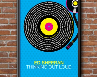 Ed Sheeran - Thinking Out Loud Song Lyrics Wall Art Poster Print.
