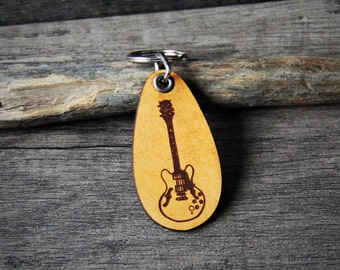Electric Guitar - genuine leather keychain