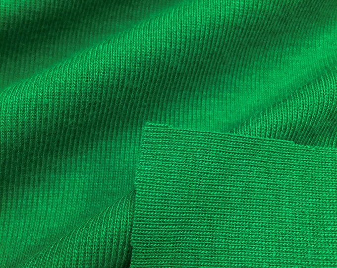 1x1 Rib Knit Fabric (Wholesale Price Available By the Bolt) USA Made Premium Quality - 4000PC Green - 1 Yard