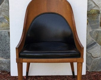 Chair mid-century Eames Black leather with hobnails molded plywood