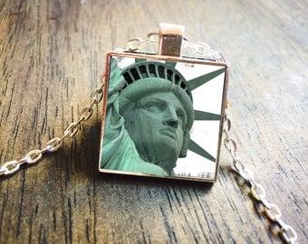 New York Jewelry, Statue of Liberty, State Island, New York Necklace, Lady Liberty, Big Apple, New York City, Map Necklace, State Jewelry,