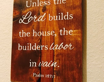 Labor in Vain Wood Sign, Scripture Sign, Bible Verse Sign, Rustic Wood Sign, Wall Art