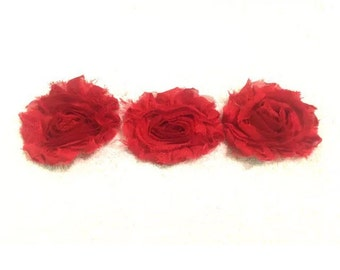 "Scarlett Red Gorgeous Shabby Frayed Chiffon Flower Rosettes 3 x 2.5"", hair bands, clips, crafts etc"