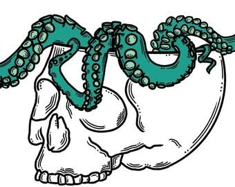 Octopus Skull Temporary  Tattoo / Sticker