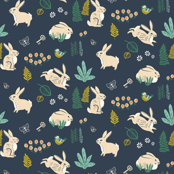 Hidden Garden by Miriam Bos for Birch Fabrics - One Yard -  BUNNY HOP DUSK  - Quilters Cotton- Fabric by the Yard