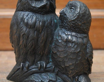 Bronze plated owls
