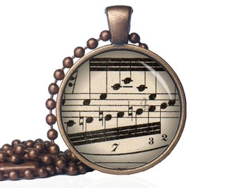 Vintage Sheet Music Necklace - Sheet Music Pendant - Music Notes Jewelry - Gift for Musicians - Gift for Musician - For Her - For Him