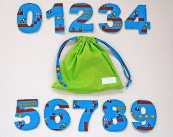 """Super Mario Fabric Number Toy! Ready to Ship! 4.5"""" High, Cloth Numbers. Matching Drawstring Bag!"""