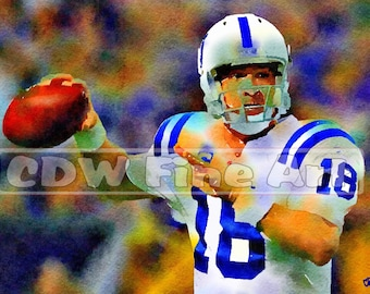 Peyton Manning - Limited Edition Print of my original Water Colour Painting
