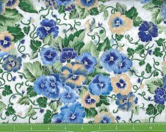 Pansies With Shades of Blue , Yellow,purple pansies with Silver Lining on  white