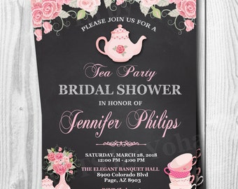 Tea Party Invitation, Tea Party Bridal Shower Invitation,Tea Party Baby Shower Invitations, Bridal Tea Party Invitation, DIGITAL or PRINTED