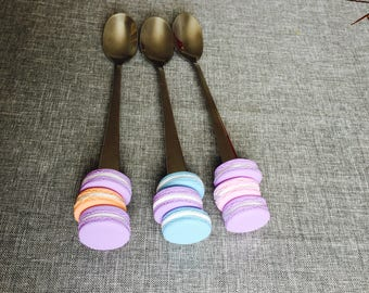 3x ice cream spoons decorated macaroon spoons desert spoons gift idea home decor birthday present unique gift
