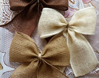 Burlap Bow Wedding Bow Burlap Wedding Rustic Wedding  Wreath Bow Aisle Decoration Burlap Bow