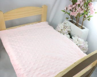 Pink minky bed spread / Ikea Duktig doll bed spread / Bunny bed spread for ikea doll bed